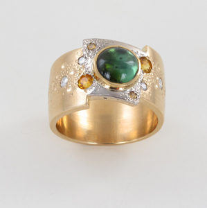 gemstone and diamond ring by artist Martin Spreng
