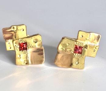 """Carées oranges"" earrings ring by Parisian jewellerMartin Spreng"